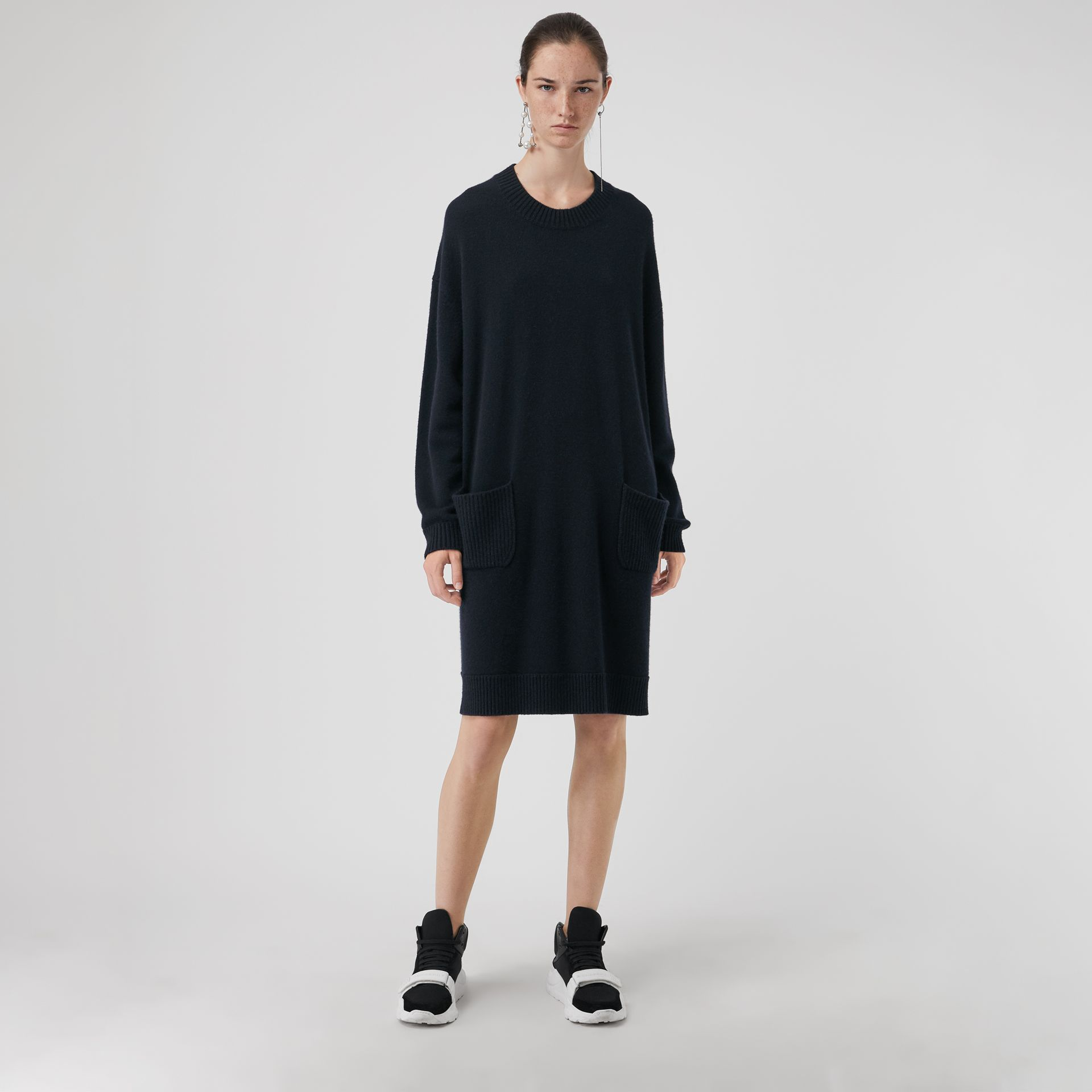 Cashmere Sweater Dress in Navy - Women | Burberry Australia - gallery image 5