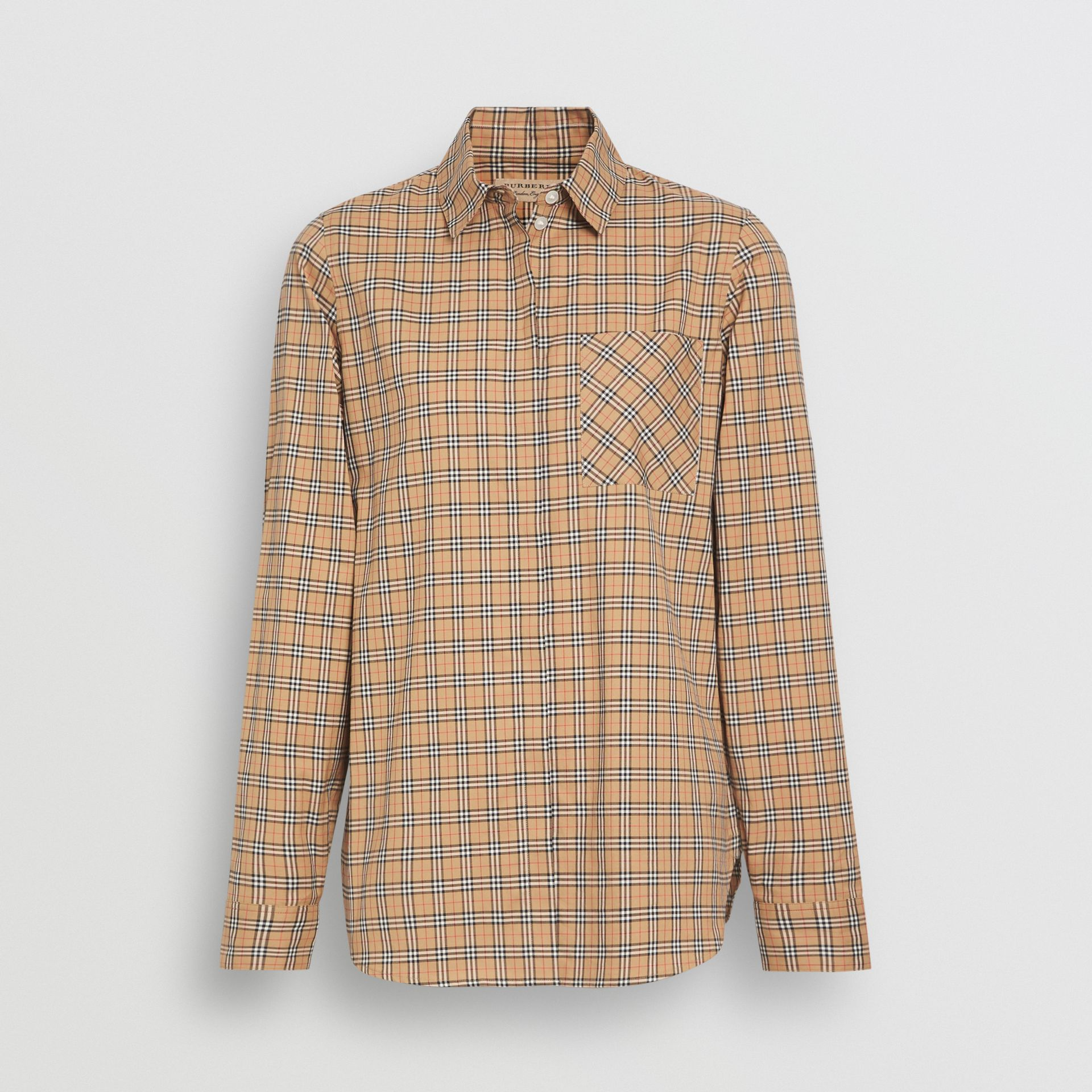 Check Cotton Shirt in Antique Yellow - Women | Burberry - gallery image 3