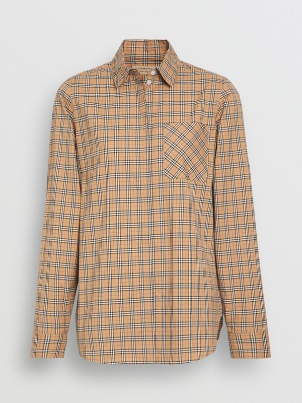 Check Cotton Shirt in Antique Yellow - Women | Burberry - cell image 3
