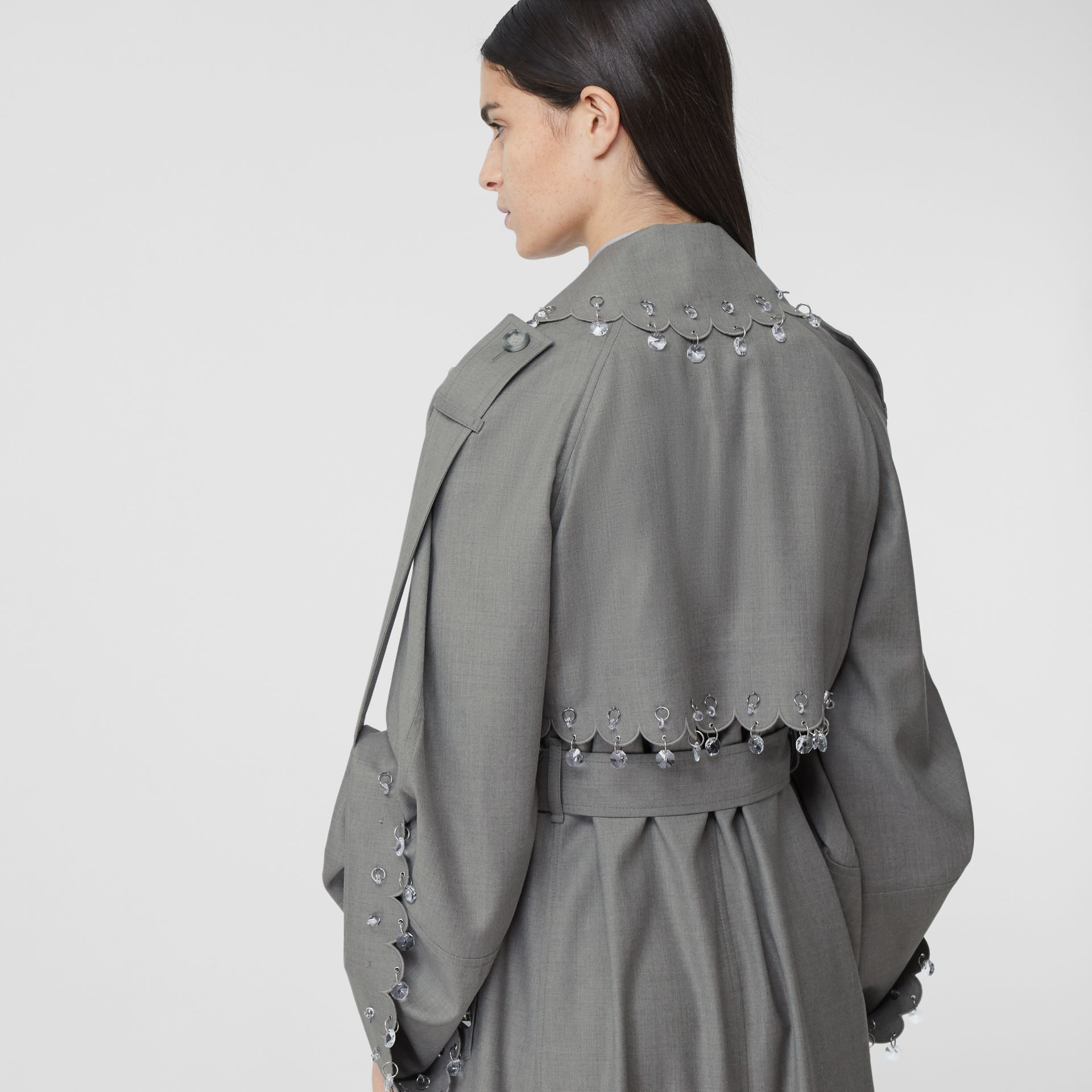 Crystal Ring-pierced Wool Reconstructed Trench Coat in Cloud Grey - Women | Burberry - gallery image 4
