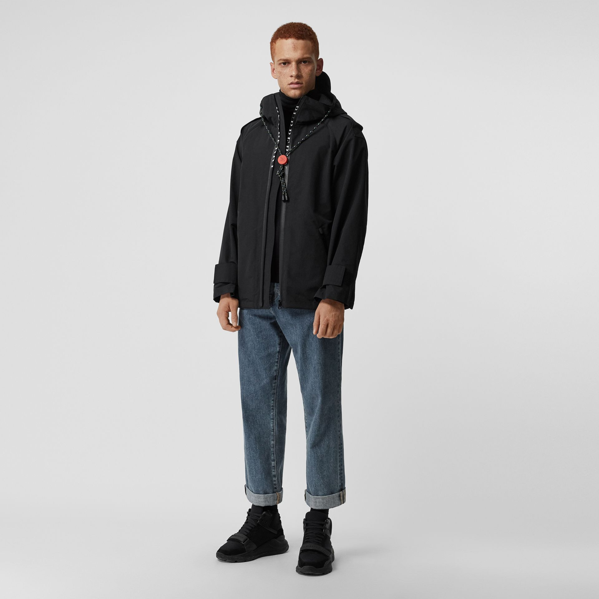 Bungee Cord Detail Hooded Parka in Black - Men | Burberry United Kingdom - gallery image 0