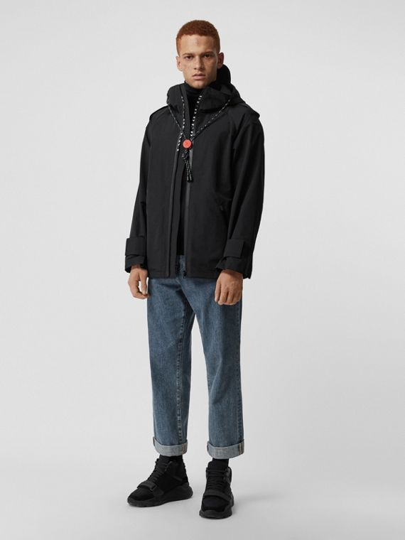 Bungee Cord Detail Hooded Parka in Black