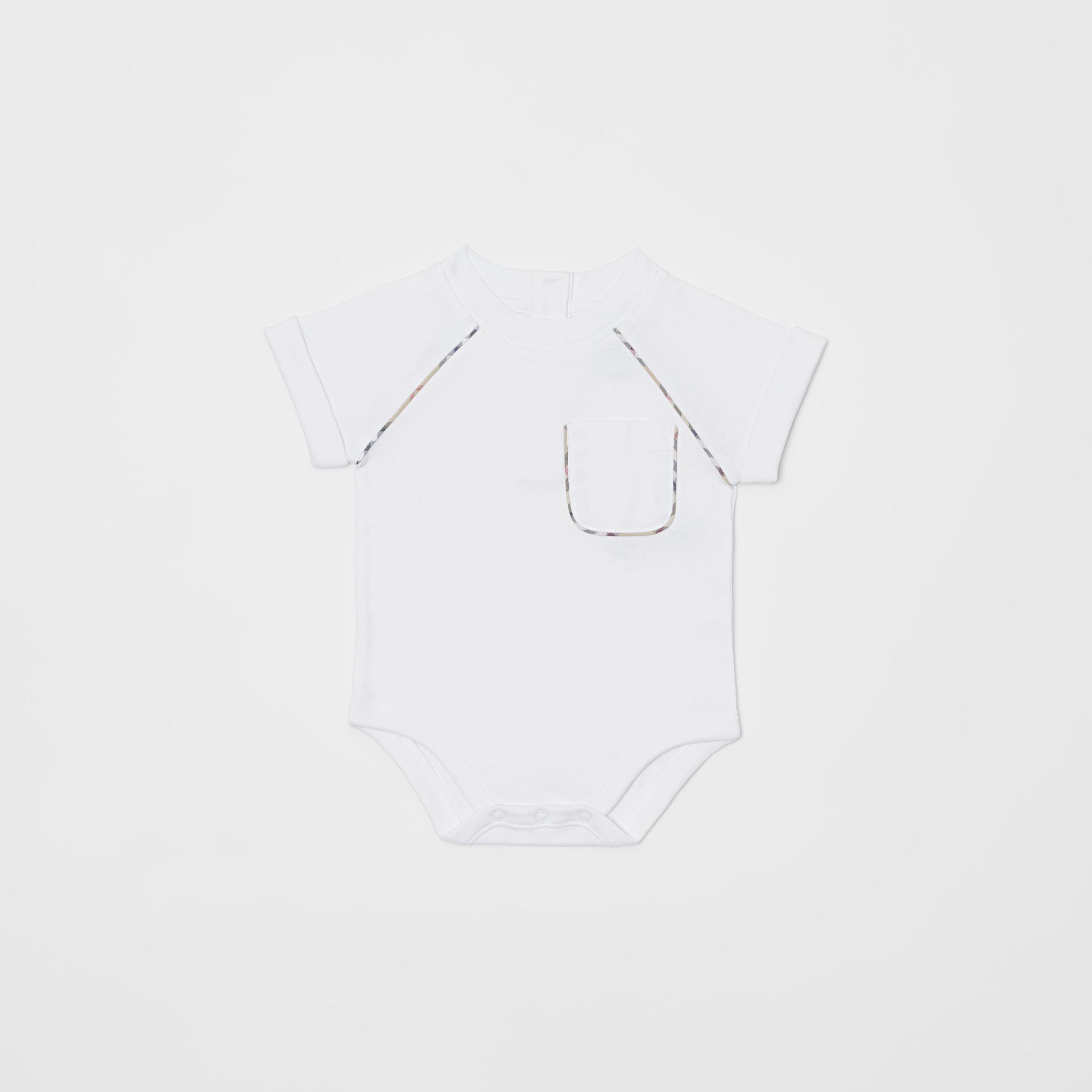 Check Detail Cotton Four-piece Baby Gift Set in White - Children | Burberry Canada - gallery image 1