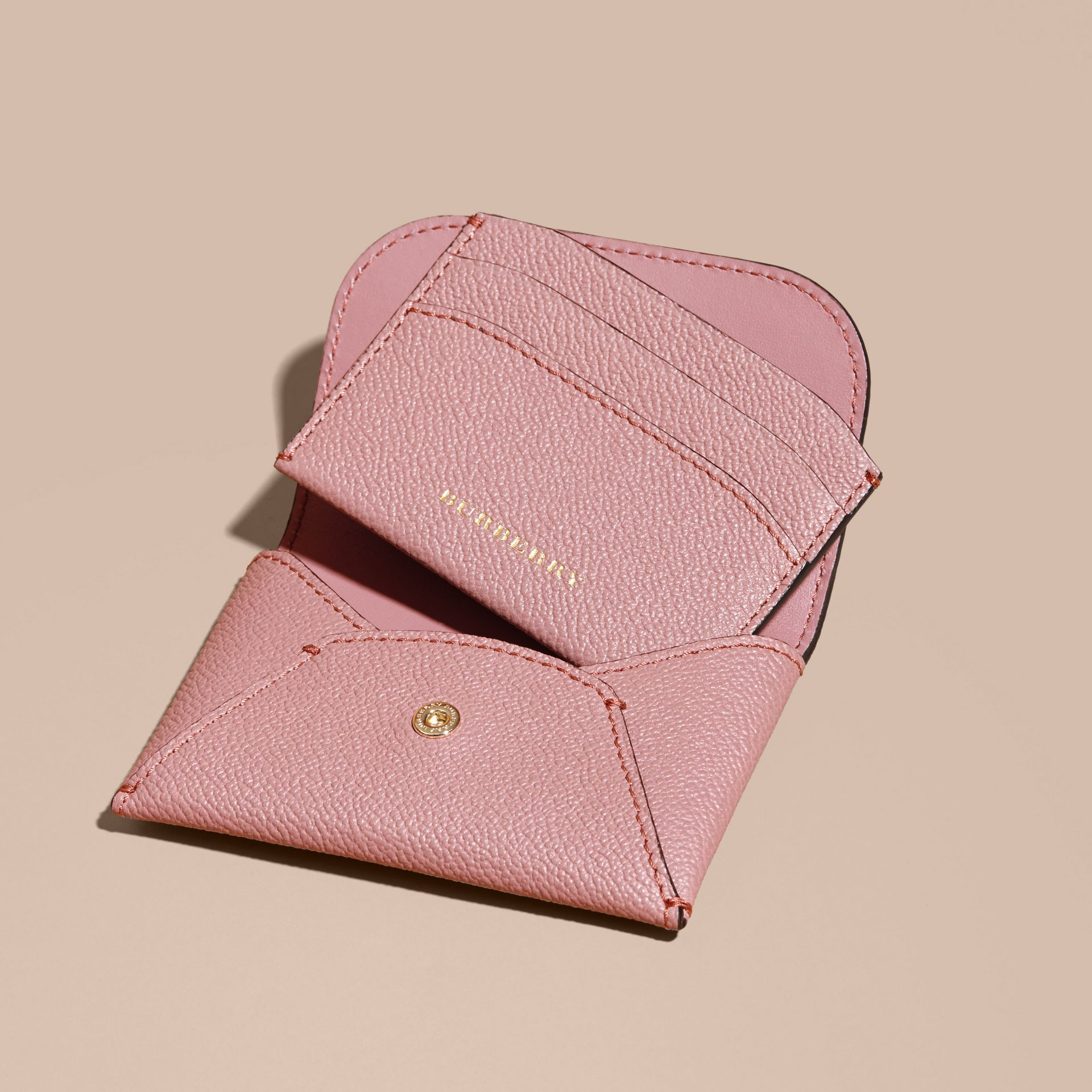 Leather Coin Case with Removable Card Compartment in Dusty Pink - Women | Burberry - gallery image 5