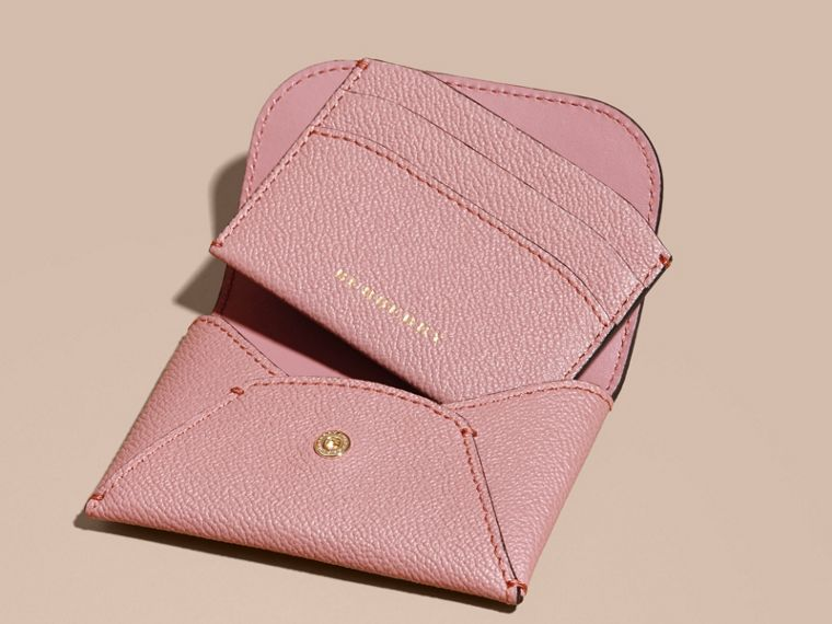 Leather Coin Case with Removable Card Compartment in Dusty Pink - Women | Burberry - cell image 4