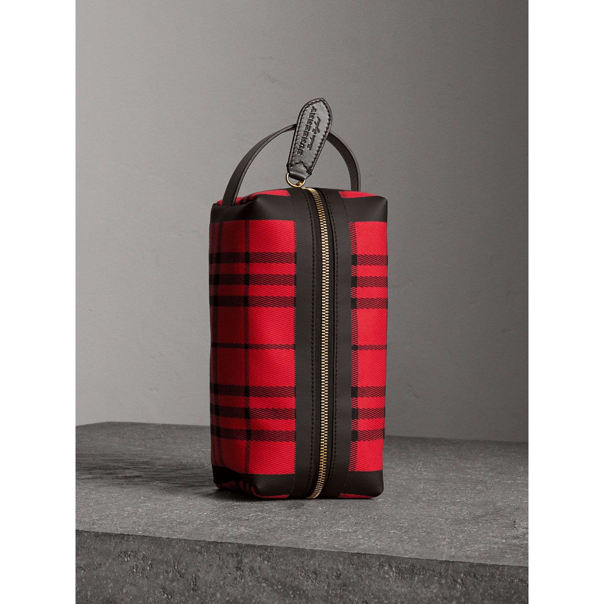 Tartan Cotton Pouch in Military Red | Burberry - gallery image 0