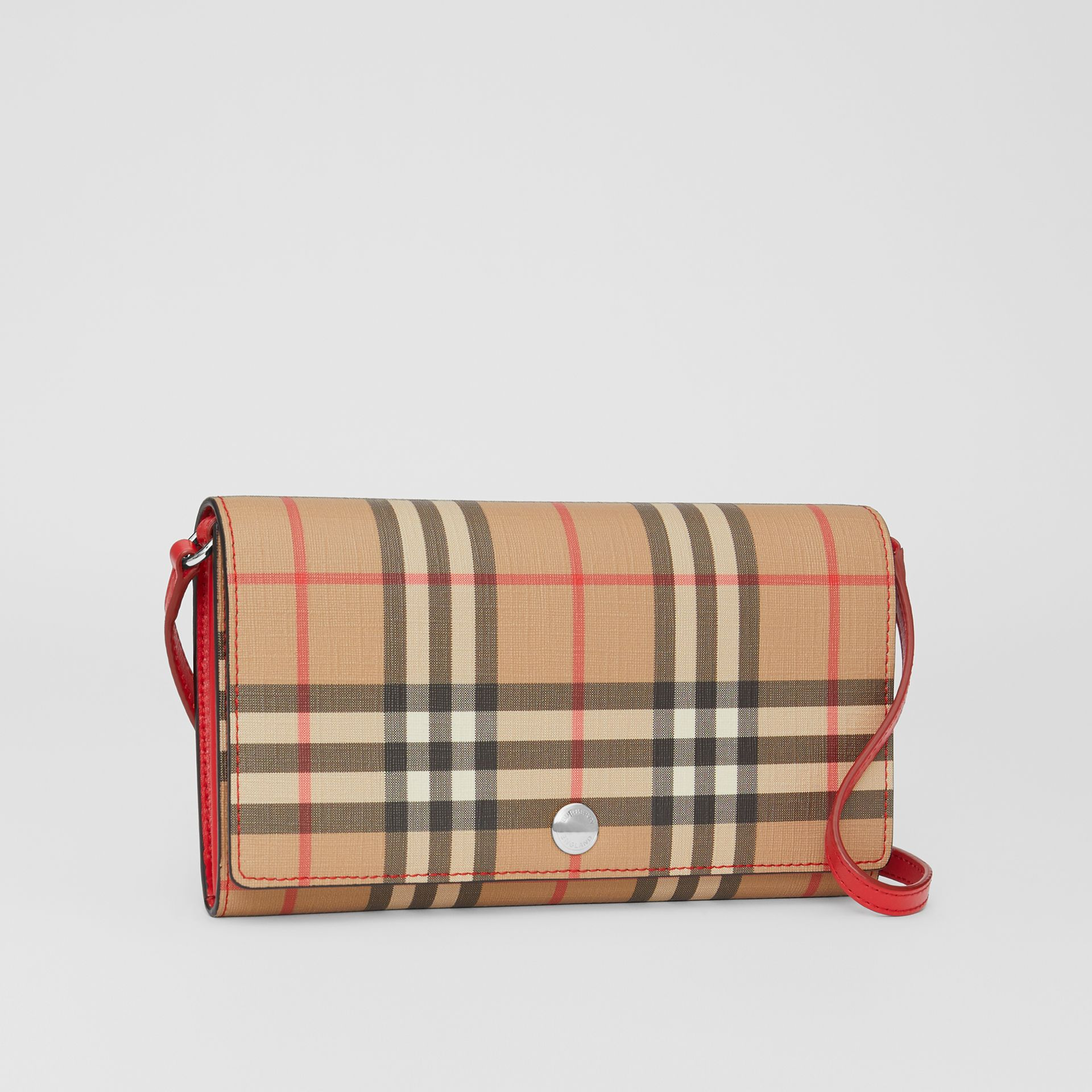 Vintage Check E-canvas Wallet with Detachable Strap in Bright Military Red - Women | Burberry Singapore - gallery image 6