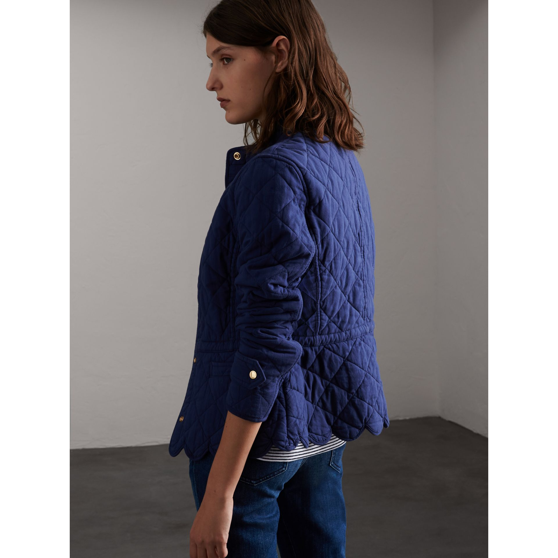 Scalloped Diamond Quilted Cotton Jacket in Indigo - Women | Burberry - gallery image 3