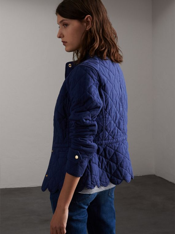 Scalloped Diamond Quilted Cotton Jacket in Indigo - Women | Burberry - cell image 2