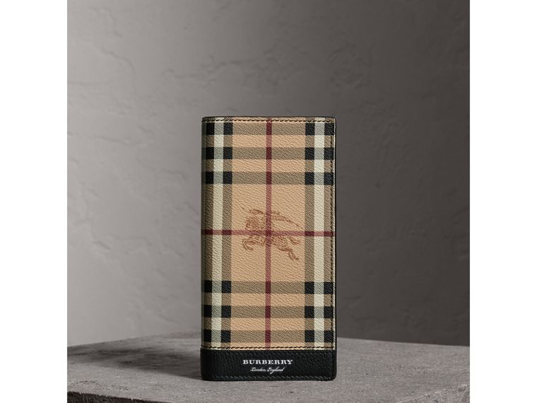 Haymarket Check and Leather Continental Wallet in Black - Men | Burberry United States - cell image 4