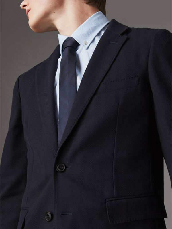 Slim Cut Check Silk Tie in Navy - Men | Burberry - cell image 2