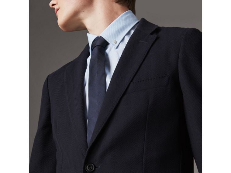 Slim Cut Check Silk Tie in Navy - Men | Burberry United Kingdom - cell image 2