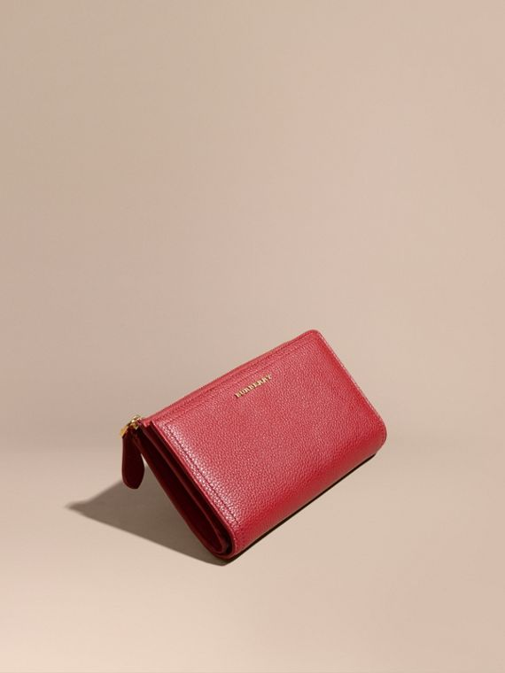 Grainy Leather Ziparound Wallet in Parade Red