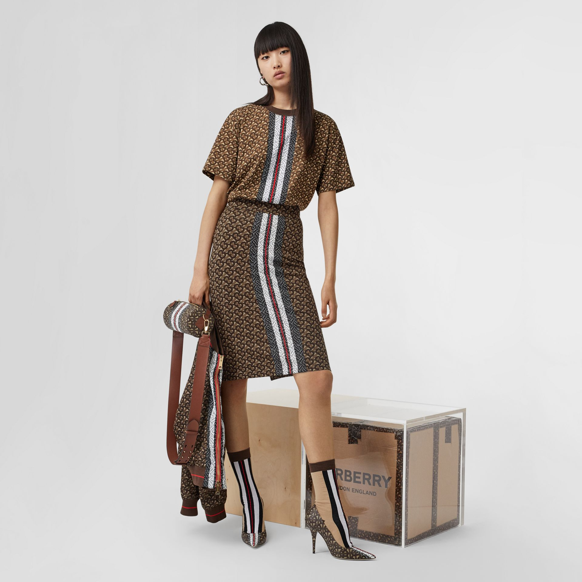 Monogram Stripe Print Stretch Jersey Pencil Skirt in Bridle Brown - Women | Burberry - gallery image 5