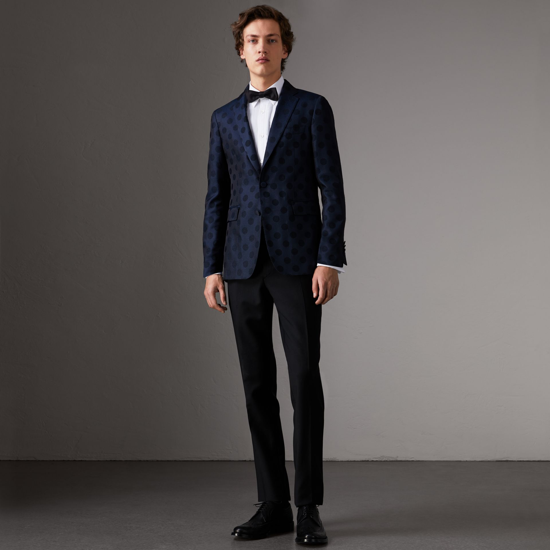 Soho Fit Spot Wool Silk Cotton Evening Jacket in Midnight Blue - Men | Burberry - gallery image 0