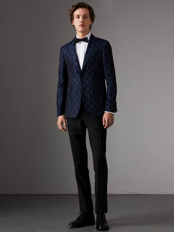Soho Fit Spot Wool Silk Cotton Evening Jacket in Midnight Blue
