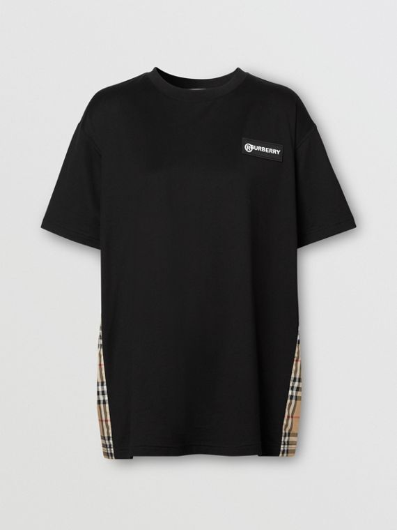 Vintage Check Panel Cotton Oversized T-shirt in Black