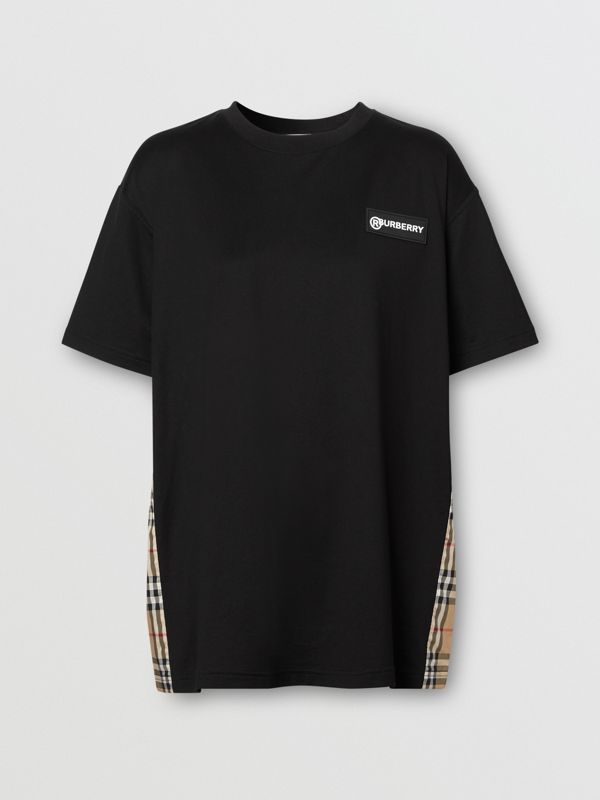 Vintage Check Panel Cotton Oversized T-shirt in Black - Women | Burberry United Kingdom - cell image 3