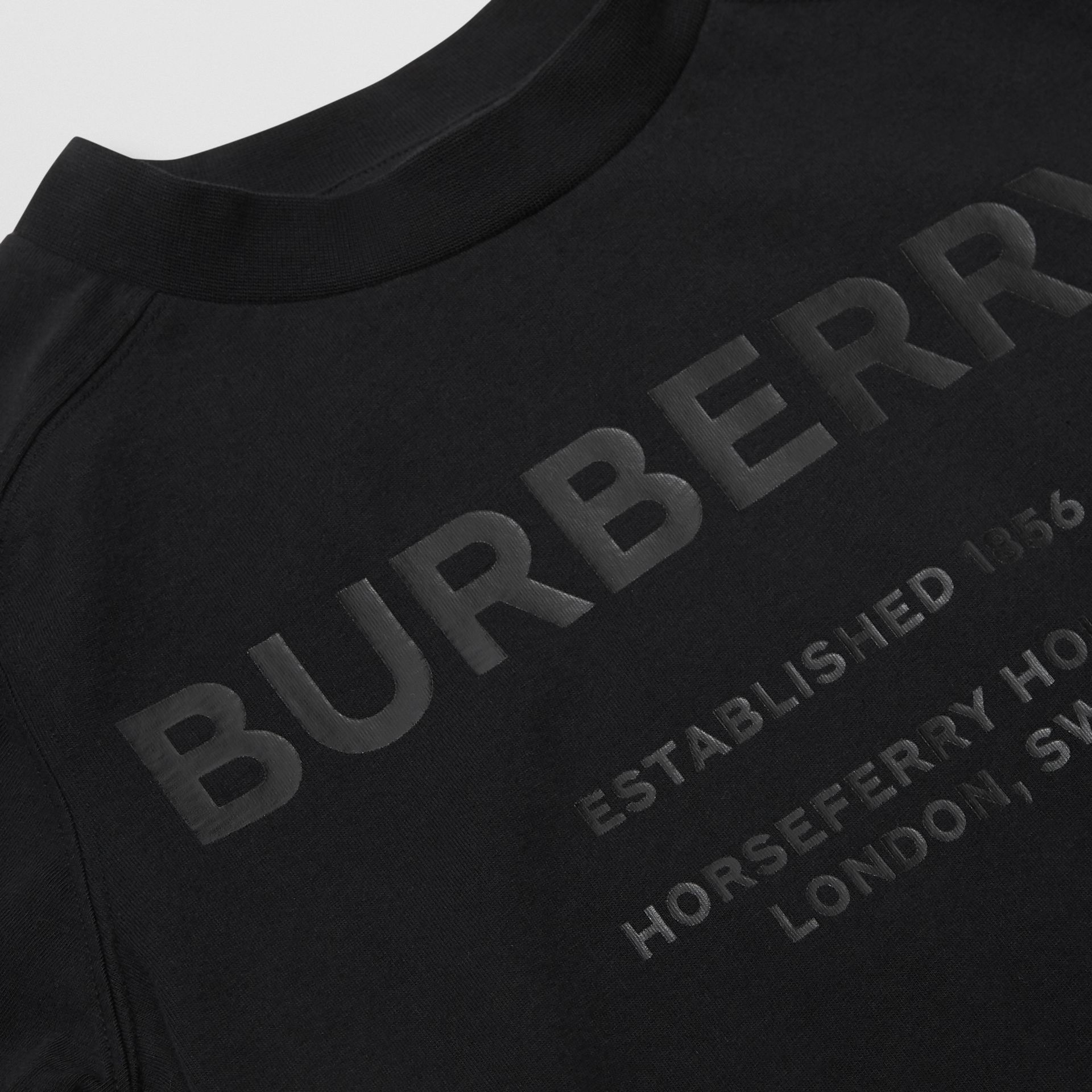 Long-sleeve Horseferry Print Cotton Top in Black | Burberry - gallery image 1