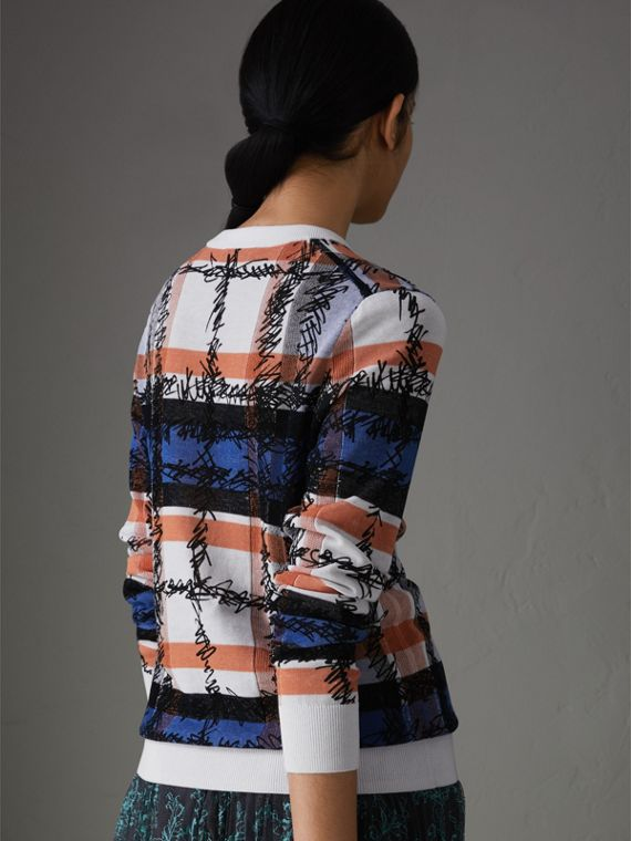 Scribble Check Cotton Sweater in Cobalt Blue - Women | Burberry - cell image 2