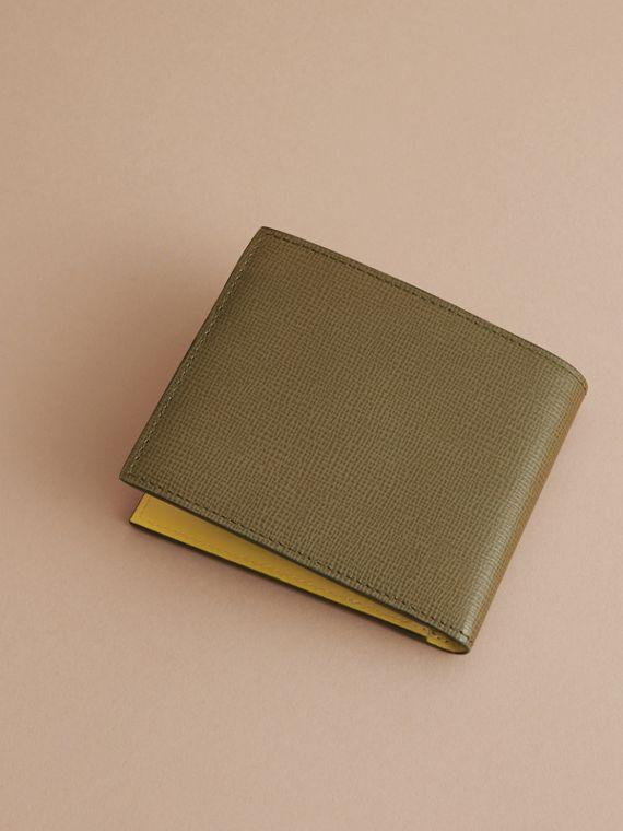 London Leather Folding Wallet in Olive Green | Burberry - cell image 3