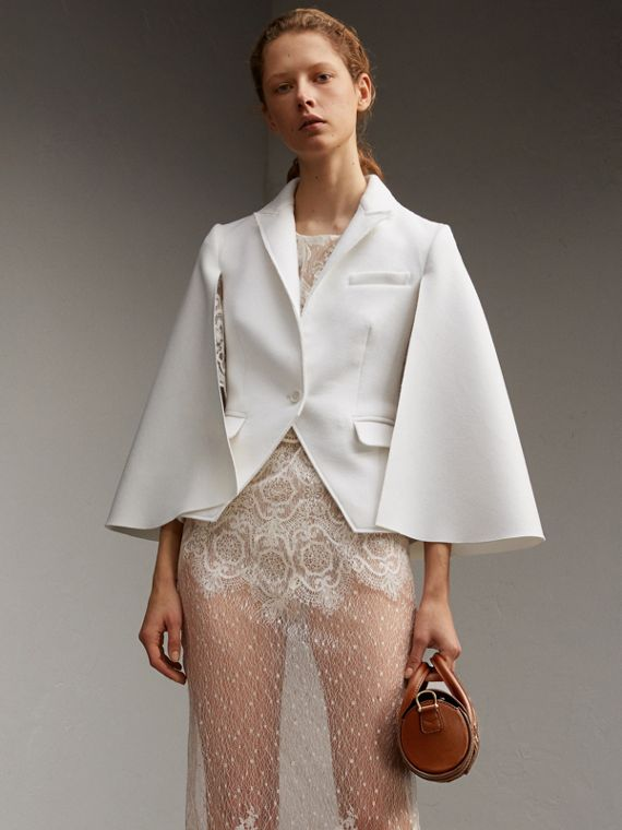 Double-faced Wool Cape Jacket in White - Women | Burberry Australia