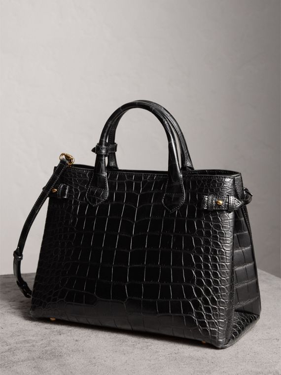 The Medium Banner in Alligator in Black - Women | Burberry United Kingdom - cell image 3