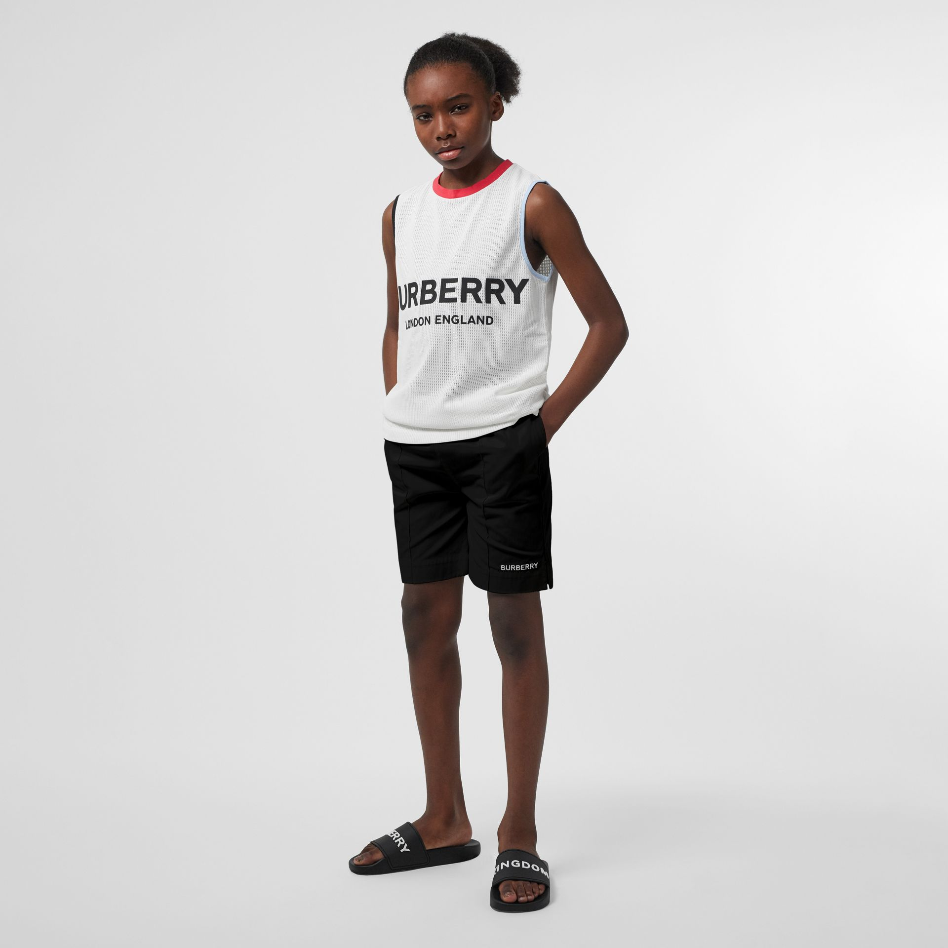 Embroidered Logo Cotton Drawcord Shorts in Black - Children | Burberry United Kingdom - gallery image 2