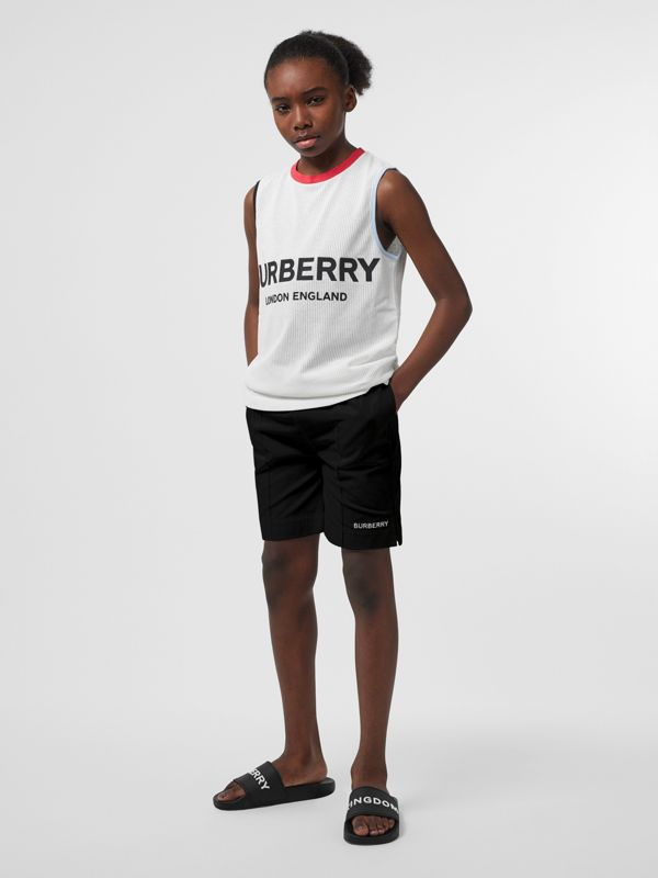 Embroidered Logo Cotton Drawcord Shorts in Black - Children | Burberry United Kingdom - cell image 2