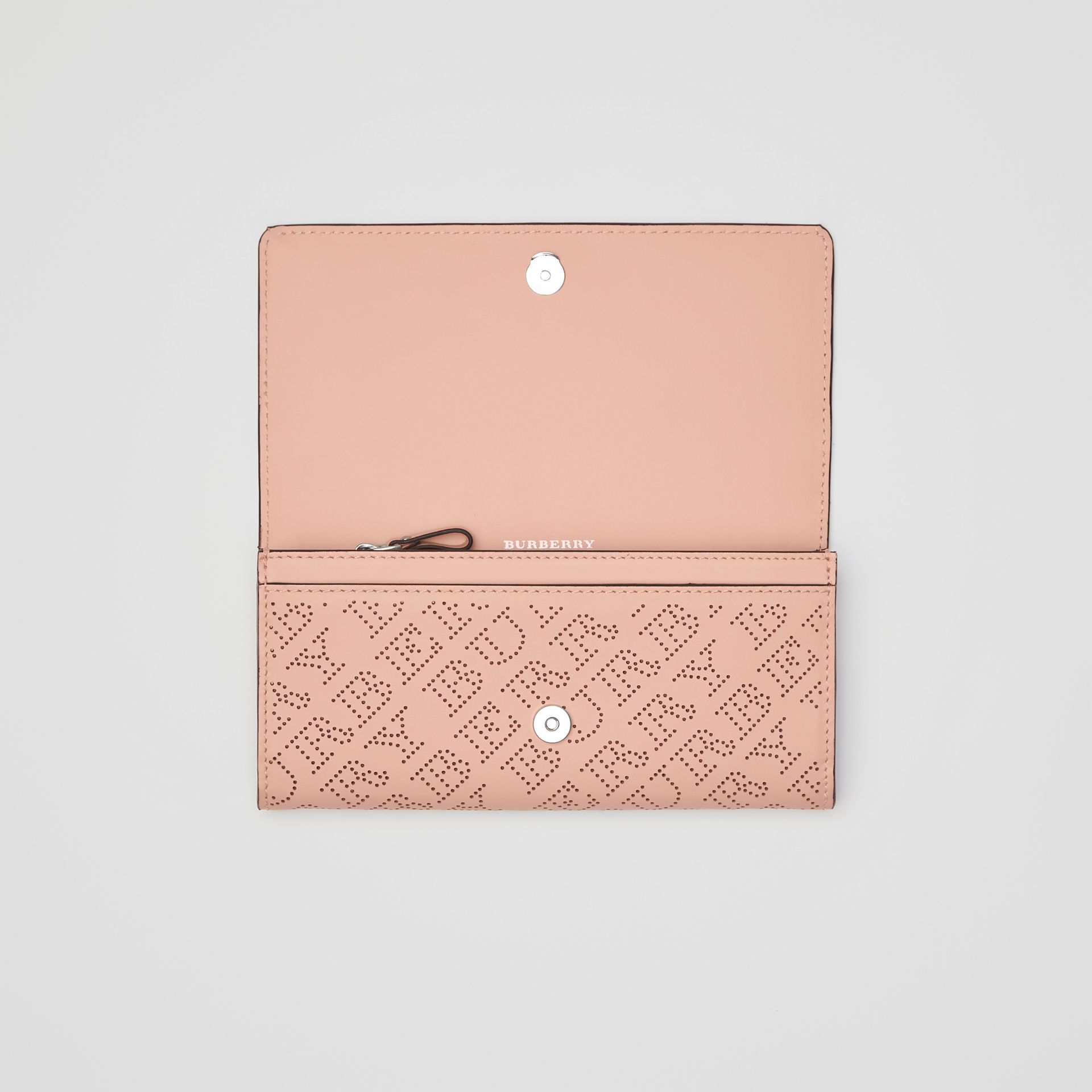 Perforated Logo Leather Continental Wallet in Pale Fawn Pink - Women | Burberry Australia - gallery image 3
