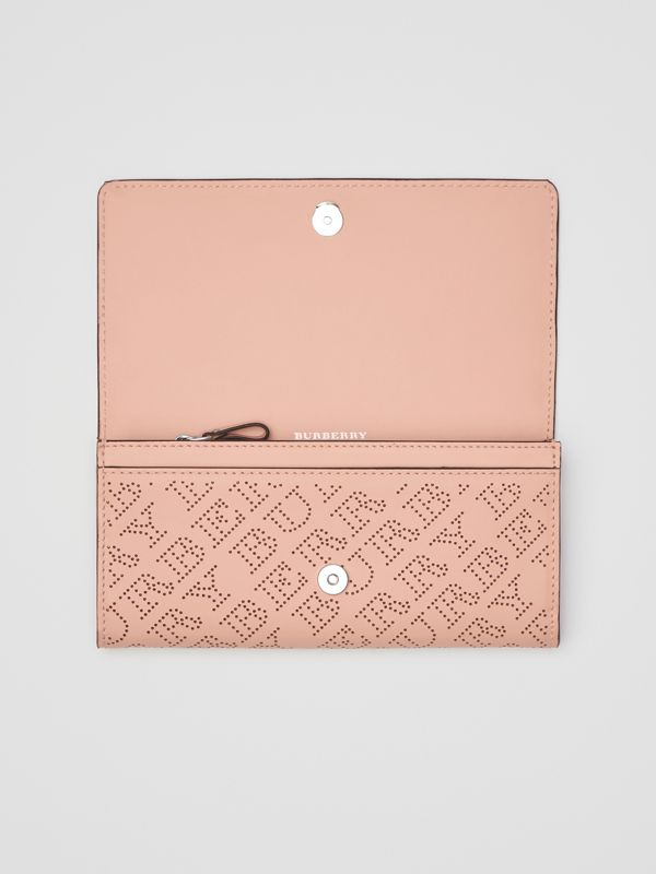 Perforated Logo Leather Continental Wallet in Pale Fawn Pink - Women | Burberry - cell image 3