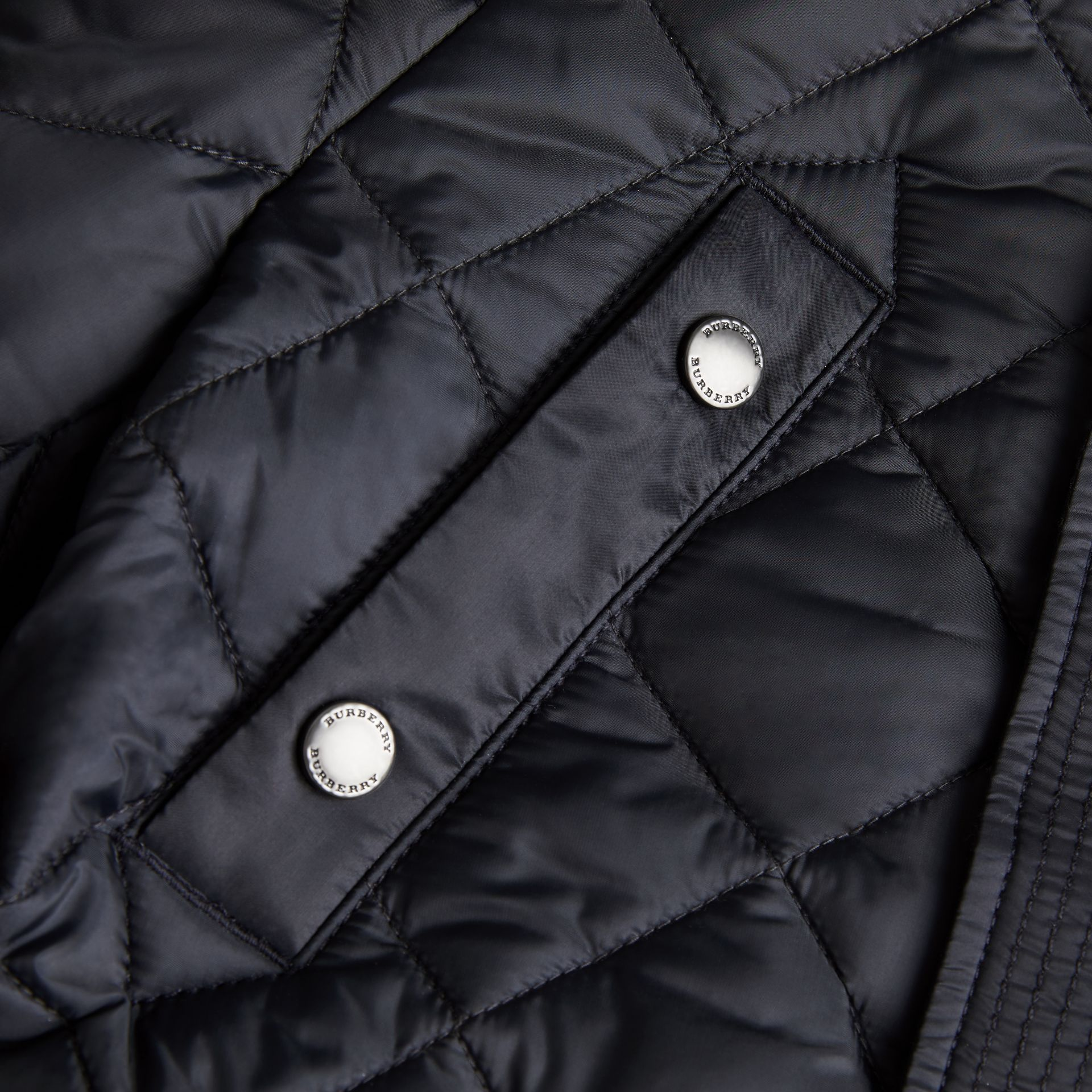 Diamond Quilted Hooded Jacket in Navy | Burberry - gallery image 1