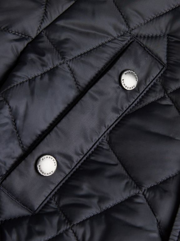 Diamond Quilted Hooded Jacket in Navy | Burberry - cell image 1