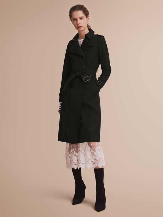 The Chelsea – Extra-long Heritage Trench Coat Black