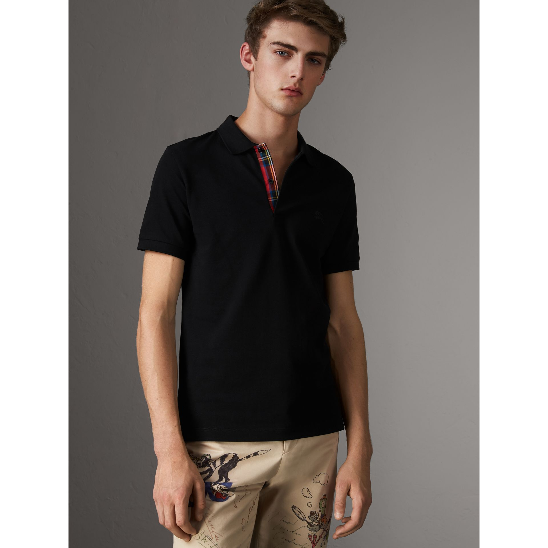 Tartan Trim Cotton Piqué Polo Shirt in Black - Men | Burberry - gallery image 0