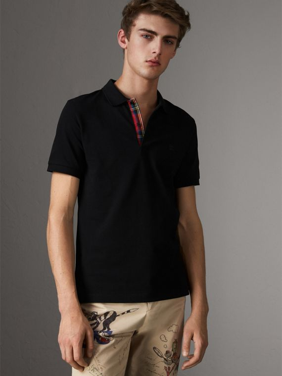 Tartan Trim Cotton Piqué Polo Shirt in Black
