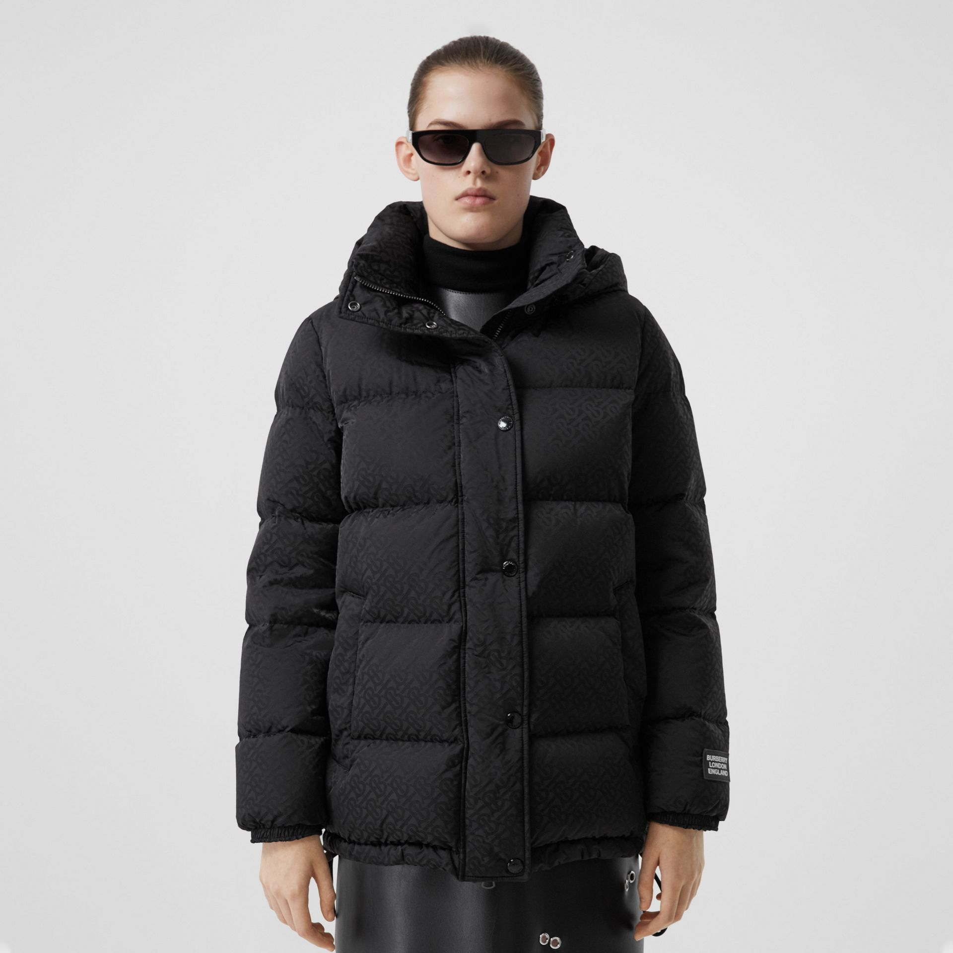 Detachable Hood Monogram ECONYL® Puffer Jacket in Black - Women | Burberry - gallery image 6