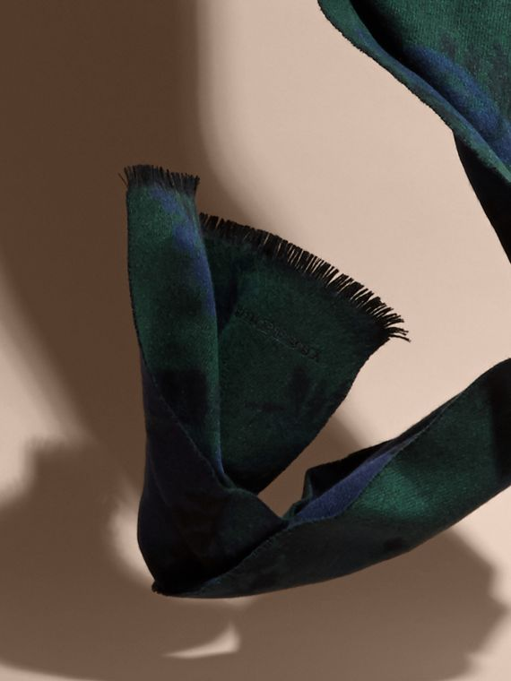 Navy Leaf Jacquard Cashmere Scarf Navy - cell image 3