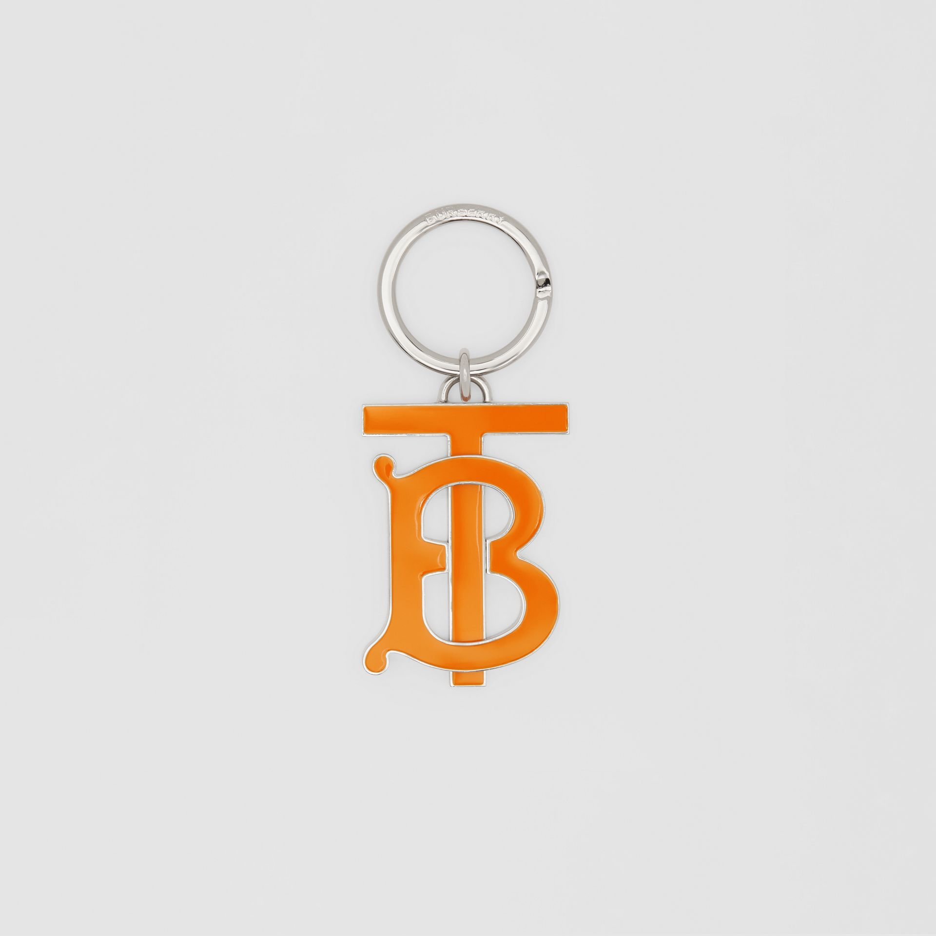 Monogram Motif Palladium-plated Key Ring in Bright Orange - Men | Burberry United Kingdom - gallery image 0