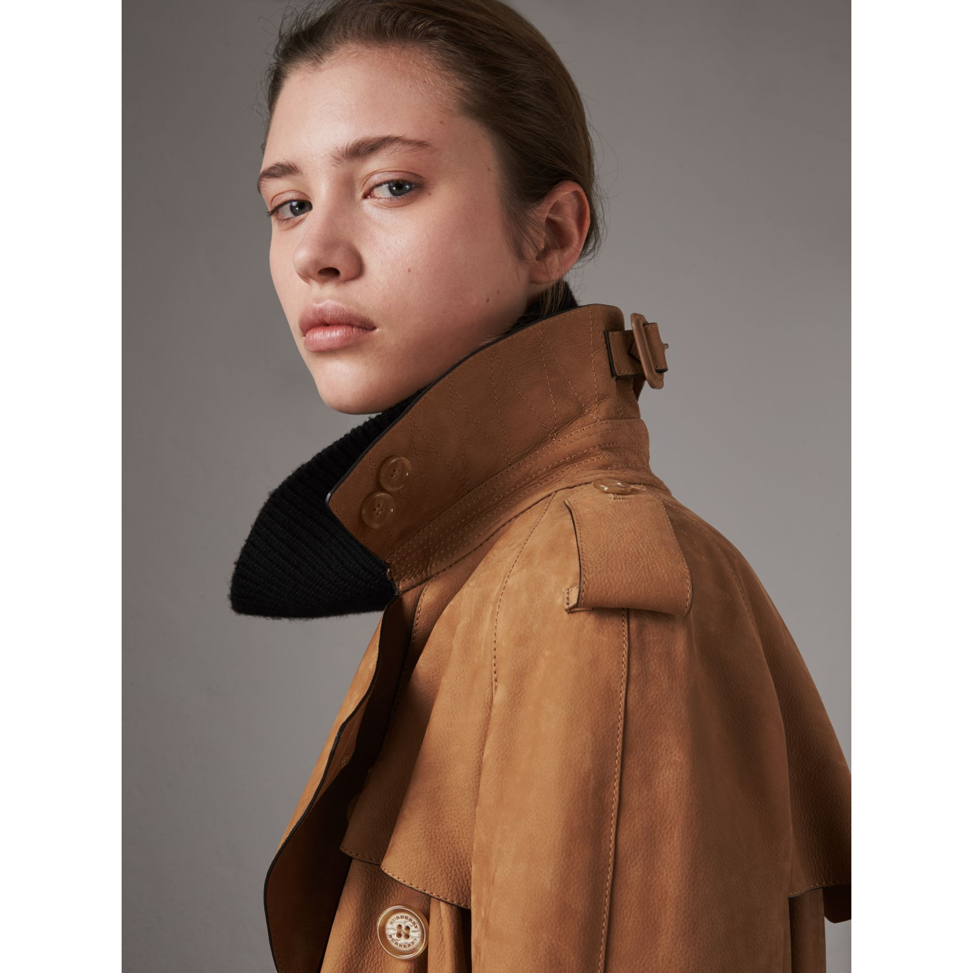 Nubuck Trench Coat in Caramel - Women | Burberry - gallery image 1
