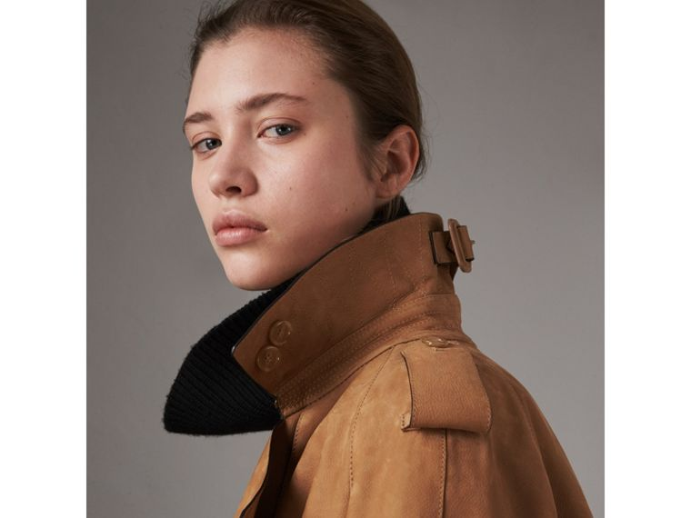 Nubuck Trench Coat in Caramel - Women | Burberry Singapore - cell image 1