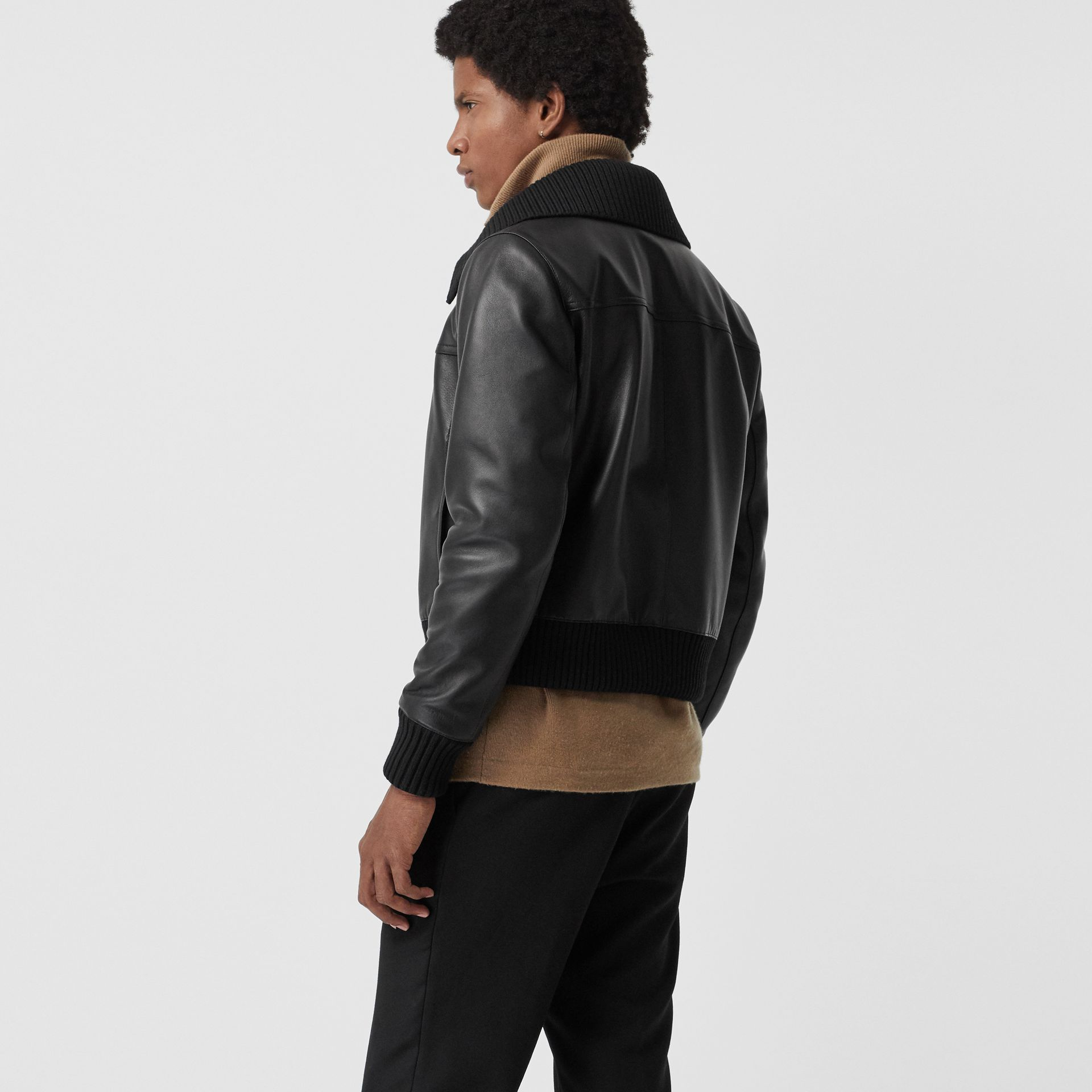 Detachable Collar Lambskin Bomber Jacket in Black - Men | Burberry - gallery image 2