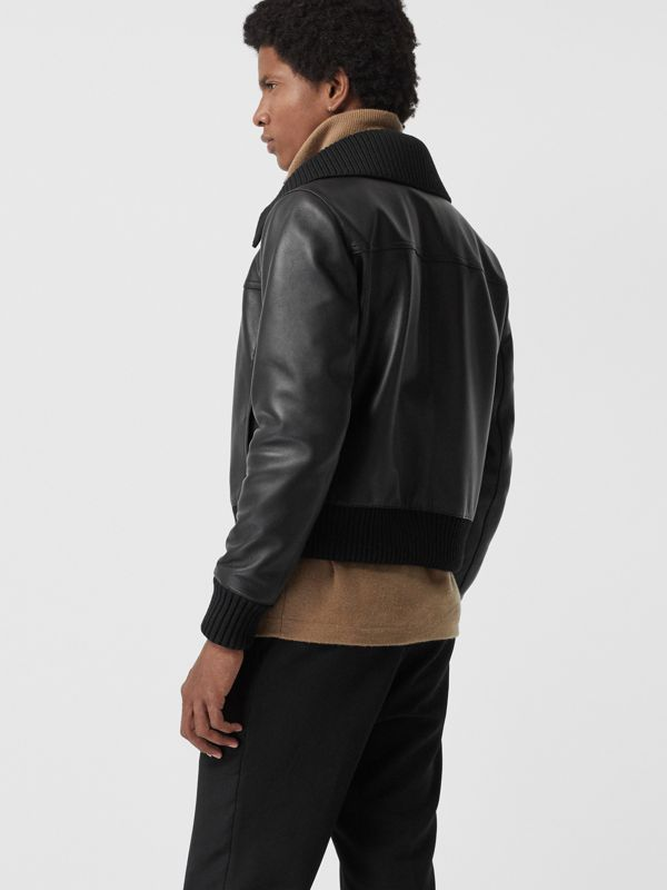Detachable Collar Lambskin Bomber Jacket in Black - Men | Burberry Singapore - cell image 2