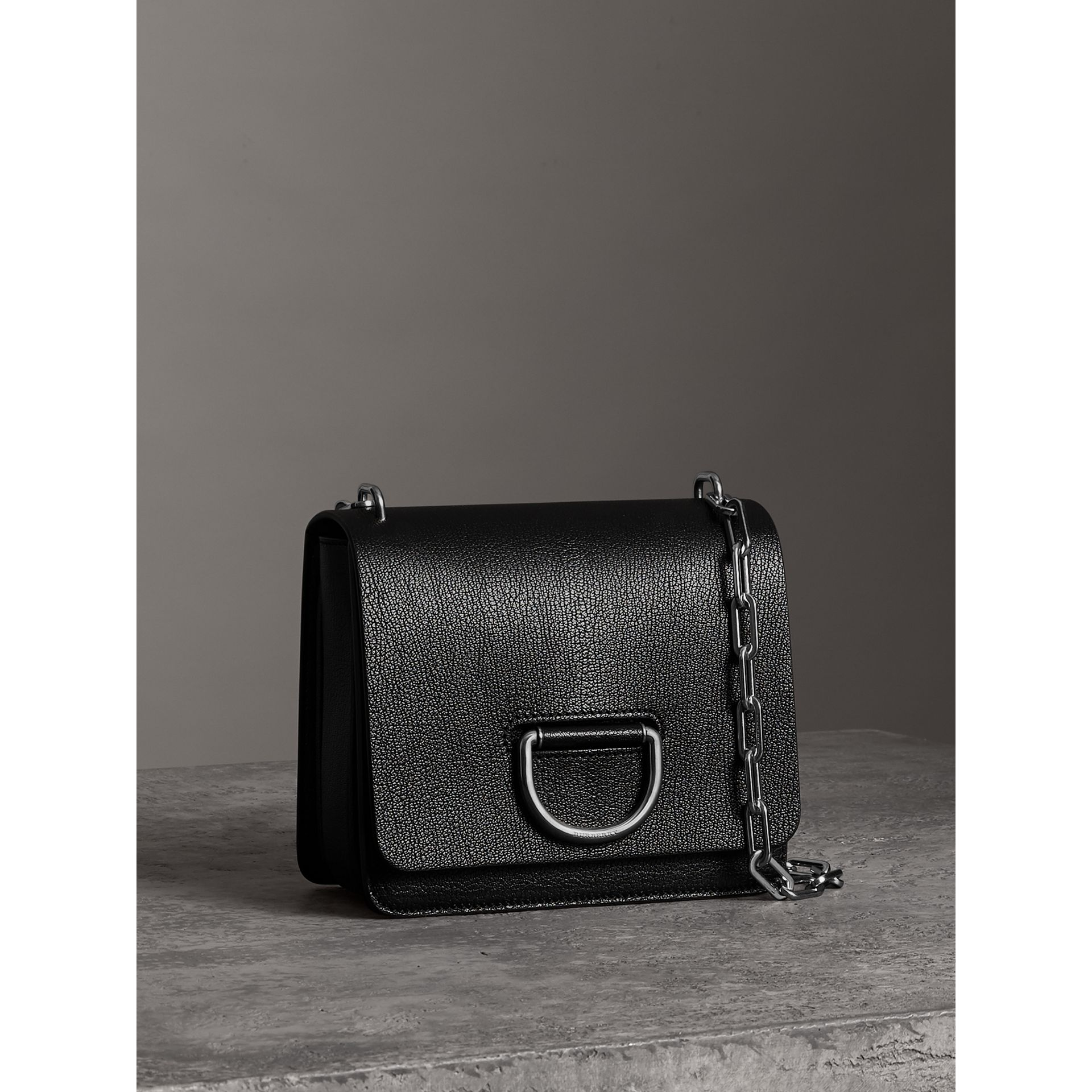 The Small Leather D-ring Bag in Black - Women | Burberry Singapore - gallery image 6