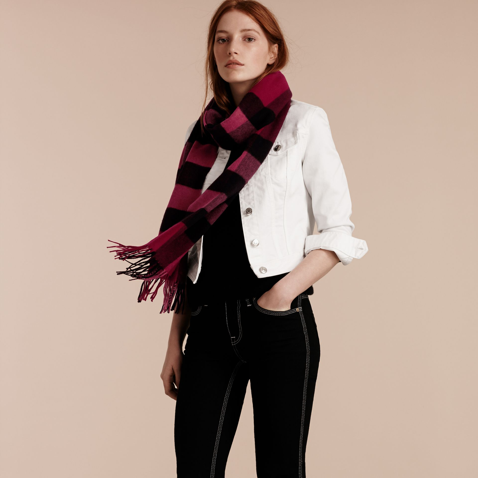 Plum check The Large Classic Cashmere Scarf in Check Plum - gallery image 3