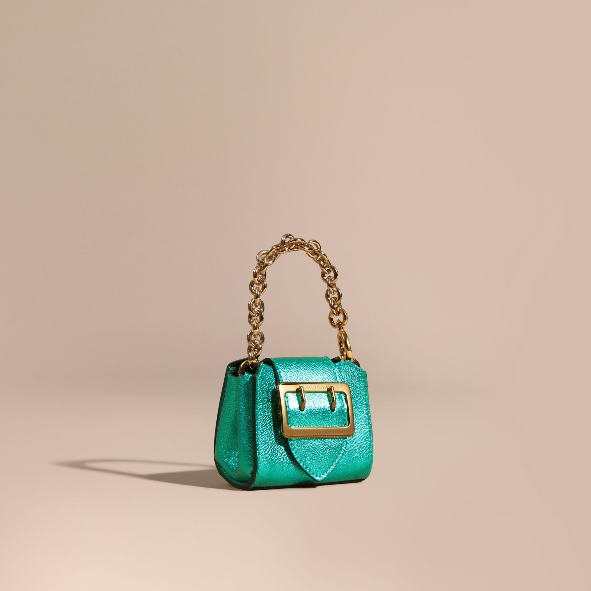 Emerald The Mini Buckle Tote Charm in Metallic Leather Emerald - gallery image 1