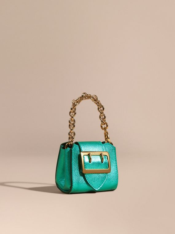 The Mini Buckle Tote Charm in Metallic Leather Emerald