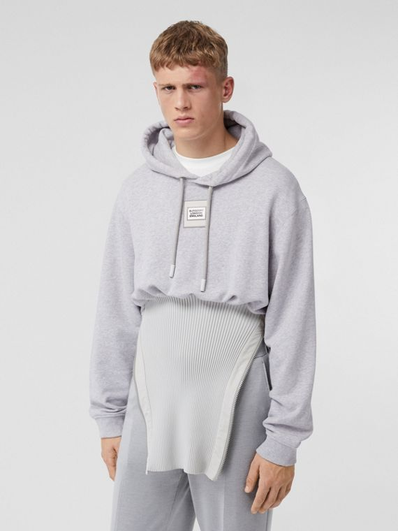 Reconstructed Cotton Hoodie in Light Pebble Grey
