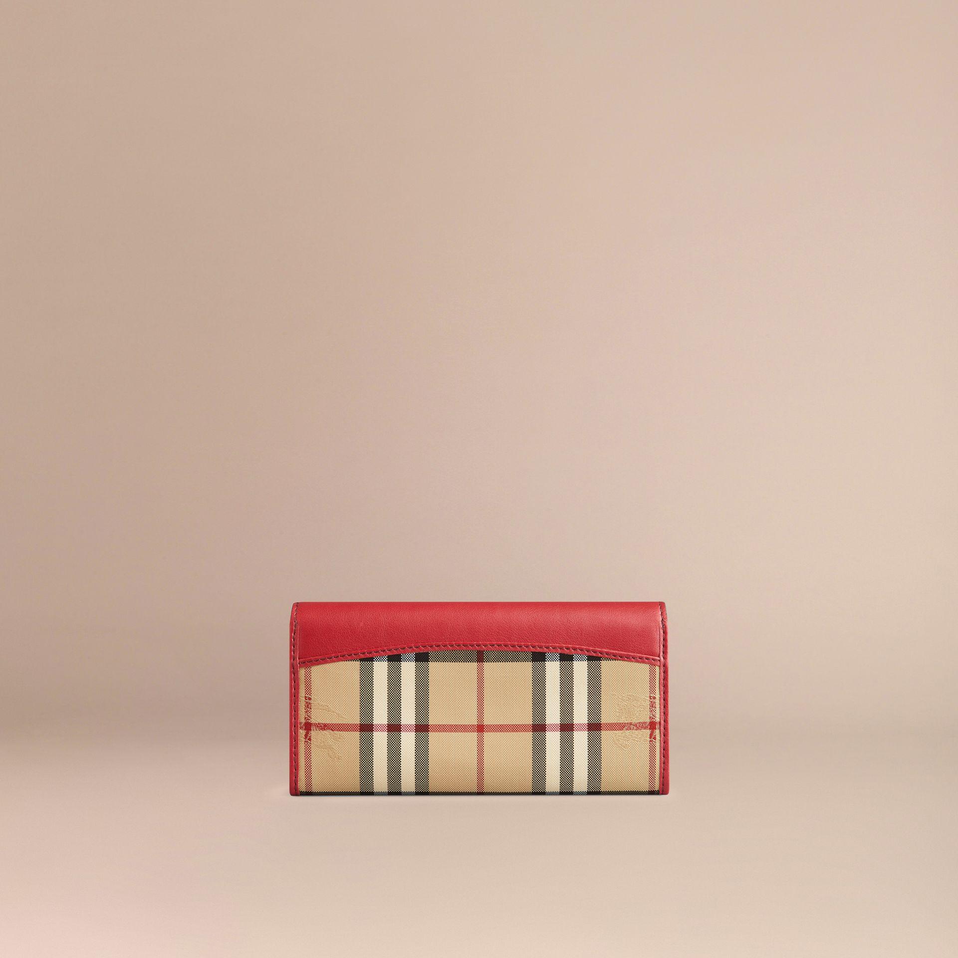 Horseferry Check and Leather Continental Wallet in Parade Red - Women | Burberry - gallery image 3