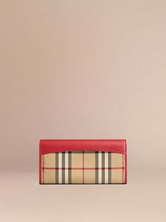 Horseferry Check and Leather Continental Wallet in Parade Red - Women | Burberry - cell image 2